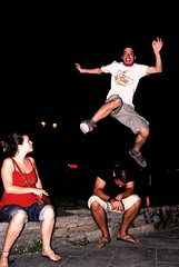 Vassilis jumping over monsieur Gynal in Navarinou square, Thessaloniki (onesecbeforethedub) Tags: art photography fly flying photo jump funny image images technical thessaloniki concept situation situationism situ flusser vilem conseptual nauarinou situationisme
