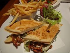 Room Service Dinner (Kat n Kim) Tags: dinner thailand hotel salad bangkok crab sandwich chips fries baguette roomservice themet coleslaw themetropolitan softshellcrab