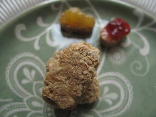 Weetabix with marmalade and jam