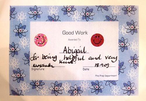 Abigail's School Certificate