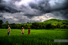 Returning . . (soumitra911) Tags: red sky sunlight white mountain green grass clouds workers dramatic hills maharashtra torna pune hdr returning ghat coth soumitra pabe inamdar soumitra911