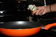 Humpty didn't Fall (lauramidd :D) Tags: hand viewlarge drips slime humpty dumpty yoke week21 greenegg 365project talkingegg fallweek hedidntfallhegotate frommychicken orangepan fresheggseverymorning