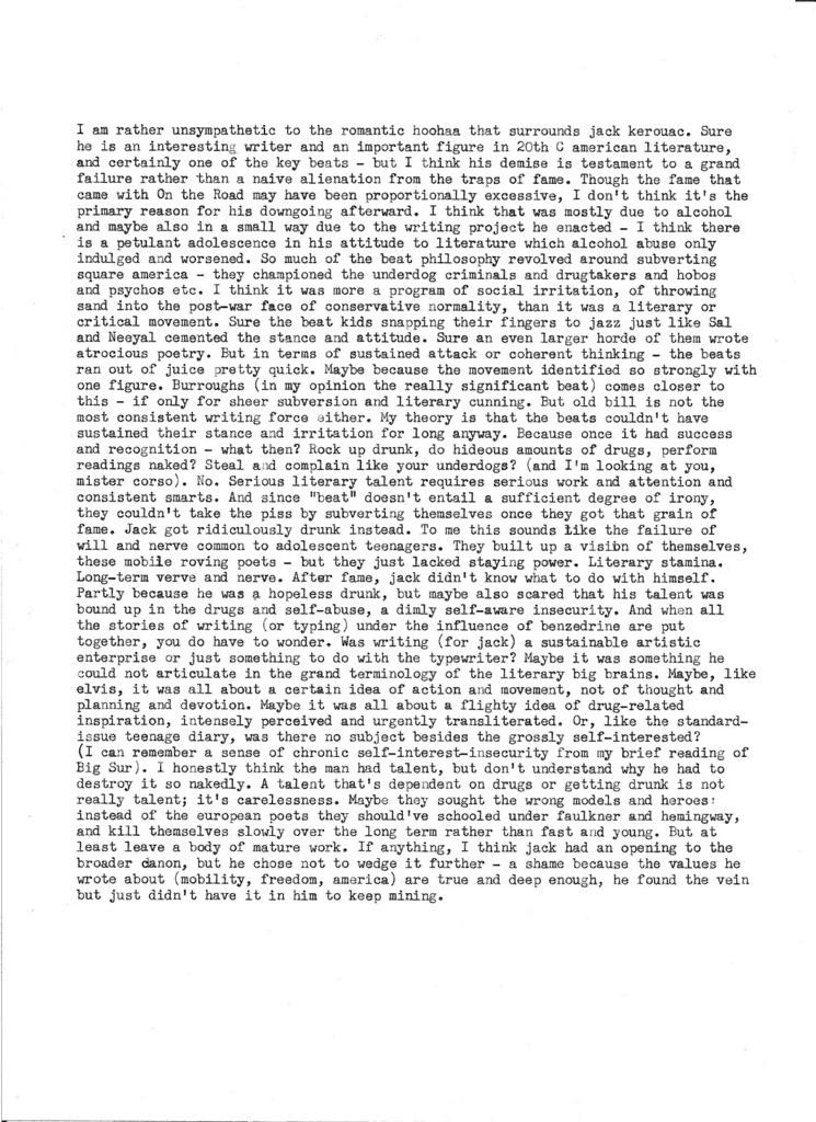 Jack Kerouac rant - typewritten. Rino Breebaart