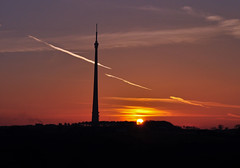 March Sunset over Emley Moor (littlestschnauzer) Tags: uk sunset sky sun tower weather landscape march tv view yorkshire landmark aerial structure illuminated elements tall mast moor setting signal huddersfield transmitter 2014 emley clearskies