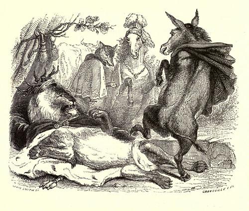 016-El leon se ha vuelto viejo-Fabulas La Fontaine-J.Grandville