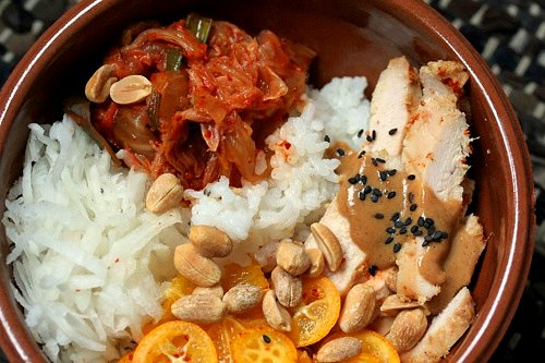 rice bowl with kimchi