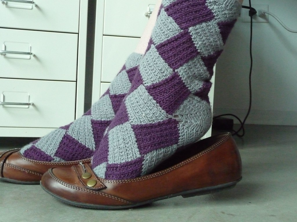 Entrelac Socks w/shoes