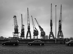 The Crane Family (Bart van Damme) Tags: cars clouds blackwhite ruins paint belgium bluesky cranes antwerp greysky emptyspace heteilandje westerschelde rijnkaai deeilandjes bartvandamme bartvandammephotography bartvandammefotografie emailbagtvandammegmailcom