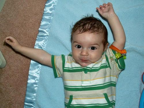 Finn waves his arms