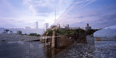 . (Ansel Olson) Tags: park camera city bridge sky urban panorama color reflection bird film water skyline architecture clouds train buildings lens landscape manchester virginia rocks downtown fuji doubleexposure wide tracks large slide richmond system financialdistrict southern va transparency shutter medium format thesouth accidental provia xl dixie richmondva richmondvirginia rva jamesriver floodwall cambo 580 100f reversal serendipitous federalreserve copal superangulon fallline route60 manchesterbridge richmondcity autaut 58mmf56 capitalofthesouth 120rollback schneiderkreusnach 6x12negative