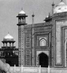 Detail of the Taj Mahal mosque, Agra, India, c. 1943