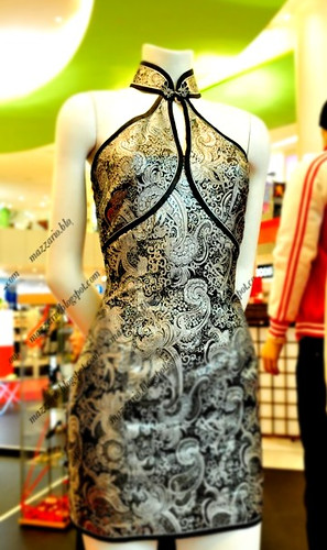 mazzario cheongsam singapore empire halter silver brocade