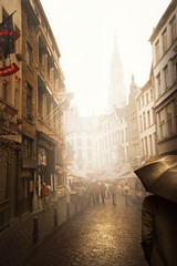 Brussels, Belgium (ilina s) Tags: street brussels people mist man reflection fog umbrella buildings gold belgium paved