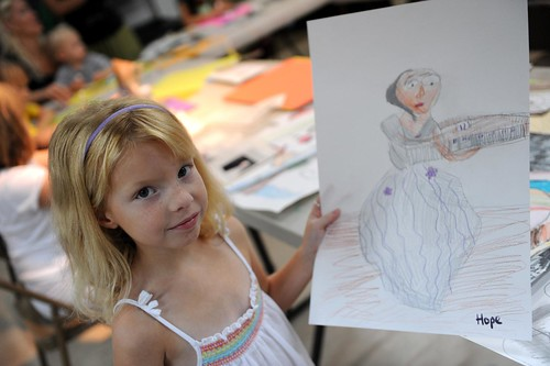 sharing her drawing