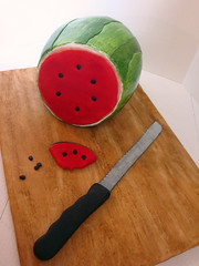 Marissa's Watermelon (Love & Sugar Bakeshop) Tags: cake lemon knife strawberries watermelon 30thbirthday marissa cuttingboard vanillabeanbuttercream
