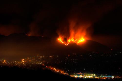 フリー画像| ニュース系| 火事/火災| 街の風景| 夜景| 山火事| アメリカ風景| ロサンゼルス|    フリー素材|