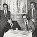 Signing of the Lingard Agreement: Mr Ron Dennison, Dr Peter Wilson, the Vice-Chancellor and Professor John Hamilton, the University of Newcastle, Australia