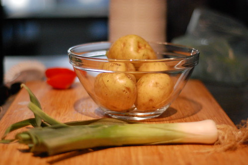 Leeks and taters.  In a bowl.