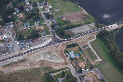 Aerial view of construction at Guide Meridian/Wiser Lake Road intersection
