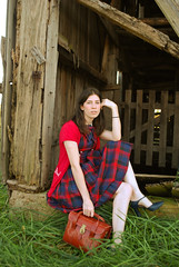 The Forbidden Pond (strawberrykoi) Tags: red vintage dress gingham bow plaid checker bluse cameracase tstraps shortsleevecardigan