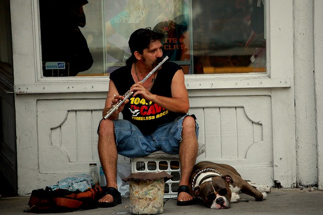 Flutist and his dog