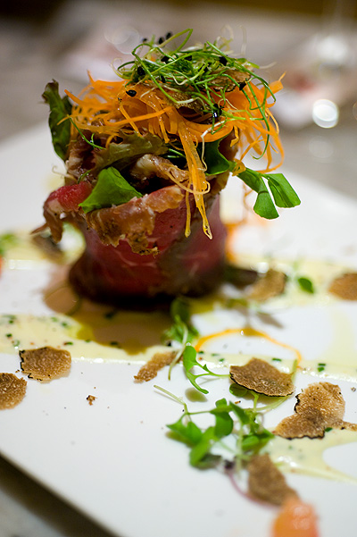 Chef Fulvio Siccardi's Lightly smoked marinated beef tenderloin with grain mustard and chives emulsion, Four Seasons Bangkok World Gourmet Festival