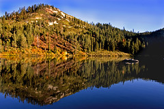 ~ First Autumn Morns ~ (~ Western Dreamer ~) Tags: autumn mountains fall reflections lakes fallfoliage evergreens cascademountains mountainlakes siskiyoucounty castlelake lakereflections westerndreamer candidcapturesphotography