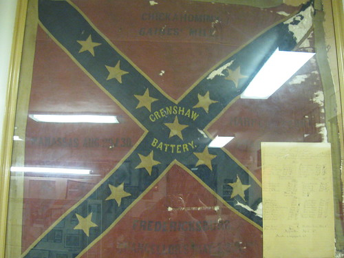 This flag was flown during the battle of Fredericksburg, as well as some other big name battles. The lighting isnt great, but you should be able to make out Fredericksburg embroidered on the bottom.