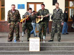 Veteran amputees for money (MastaBaba) Tags: music station train soldier army singing guitar steps band ukraine sing soldiers kiev amputee amputees vokzal 20091019
