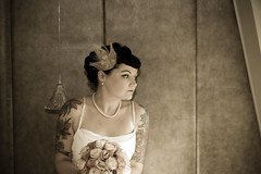 A reflective moment (Mrs Van D) Tags: vintage bride feathers peacock retro tattoos