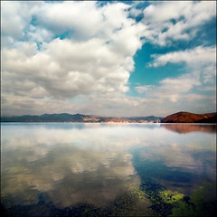 Sky mirror (Katarina 2353) Tags: travel blue autumn vacation sky mountains reflection green film nature water clouds landscape photography photo nikon europe flickr peace view image map serbia joy large paisaje cover cielo harmony romania views statistics account paysage visits priroda far danube equilibrium srbija dunav golubac tjkp 4000000 pejza artofimages 4000000views katarinastefanovic katarina2353 bestcapturesaoi mostbeautifulplacesoftheworld gettylicence