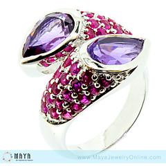 แหวนพลอยอะมิทิสต์สีม่วง ประดับทับทิมสีแดงอมชมพู รับรองความเจิดเกินใคร!