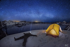 """Be Where You Are"" (Ben Canales) Tags: camping winter snow mountains oregon stars fun star nationalpark glow yoda relaxing tent calm snowangel enjoy craterlake starry waterreflection milkyway earthandspace bewhereyouare peopleandspace competition:astrophoto=2011"