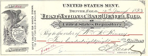 Denver Mint check 1893