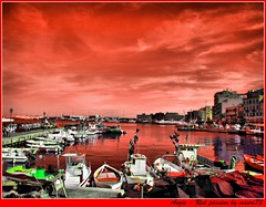 Anzio-RedSky and sea- HDR curves-HueShift modding (doctormauri73 - amateur photographer) Tags: red sea sky italy rome landscape boats high nikon mare dynamic passion coolpix digicam range hdr anzio s620 yourcountry hdrdreams