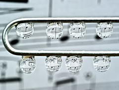 Music of the spheres (DMCleveland) Tags: blackandwhite music macro water notes drop sheetmusic waterdrops paperclip waterdropmacro roccotaco sonyalpha350