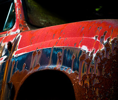Red And Blue (Zen Roxy) Tags: red abandoned crust rust sweden decay rusty forgotten rustycars bstns carcemetry bilkirkegrd