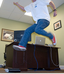 Casual Friday (The Goat Whisperer) Tags: portrait me apple june self macintosh office jump jumping mac converse taylor pro chuck casual friday allstars macbook