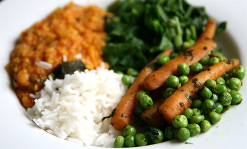 Carrots and Peas with Ginger and Green Coriander