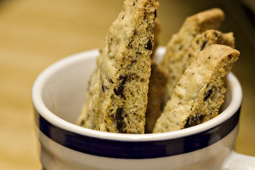 Orange biscotti with chocolate chunks