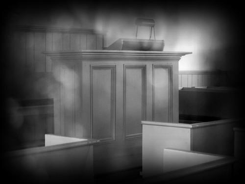 Brethren In Christ. Pulpit of old Brethren in Christ Church. Taken through the church window;
