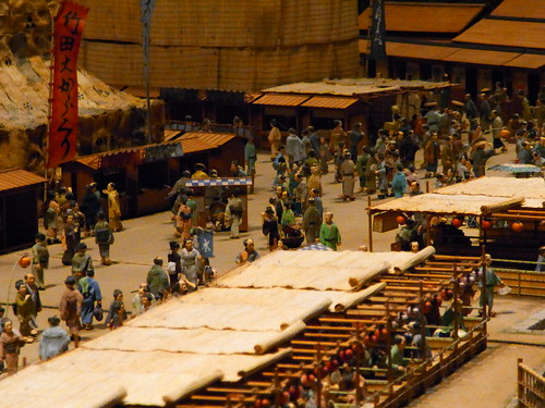 Miniature around Ryougoku-Bridge of Edo period