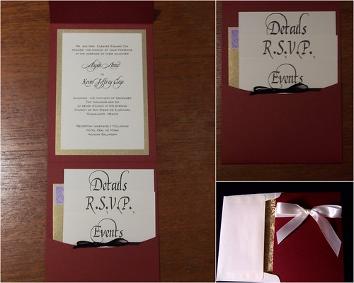 Wedding Invitation Dark red 5 7 Pocketfold with gold black and cream