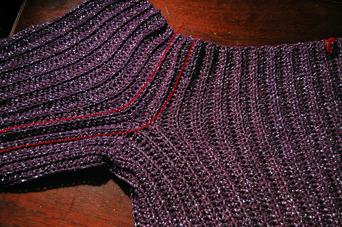 Balletneck sweater, in progress