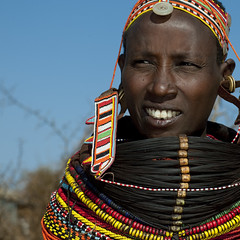 Rendille woman with beaded ornaments - Kenya (Eric Lafforgue) Tags: africa portrait people face beads kenya culture tribal human tribes bead afrika tradition tribe ethnic tribo gens visage headdress afrique headwear ethnology headgear tribu eastafrica beadednecklace coiffe qunia 5960 lafforgue ethnie rendille  qunia    beadsnecklace kea    humainpersonne a