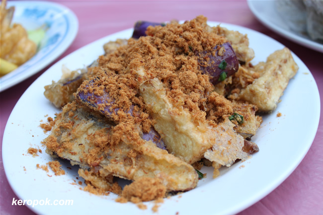 Fried Brinjals with Floss