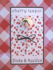cherry teapot 2009 1000 (Pinks & Needles (used to be Gigi & Big Red)) Tags: kitchen cherry cherries bowl pins retro teapot pincushion etsy teacup 2009 sewingpins gigiminor pinksandneedles pinksneedles