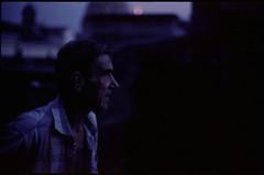 untitled (Torris Kaul) Tags: old blue sunset portrait man colour film rooftop 50mm hungary kodak f14 budapest olympus negative after autos om 160vc portra zuiko 5014 c41 om4 analouge