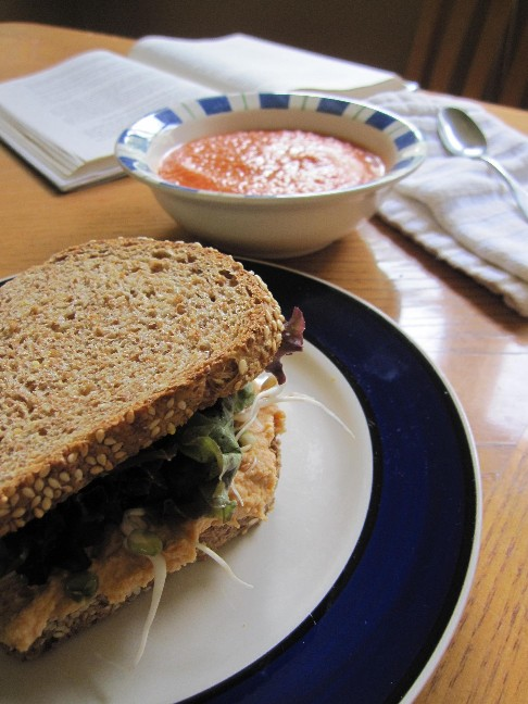 Hummus Sandwich and Gazpacho