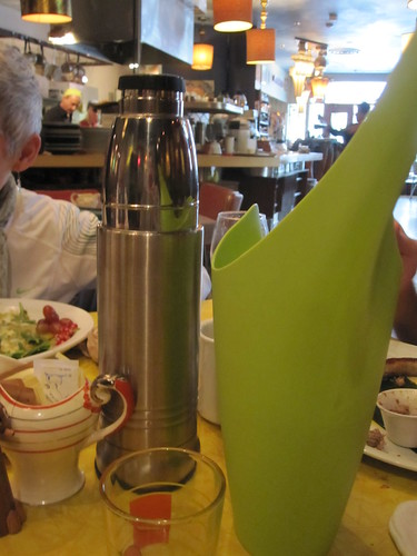 Tableside thermos if coffee at Les Cabotins